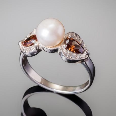 Кольцо из серебра Жемчуг (белый)