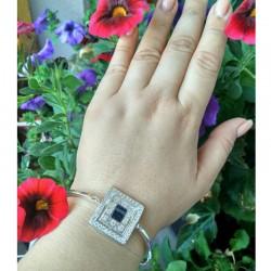 Тонкий серебряный браслет Мишель с камнями