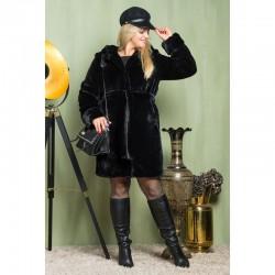 Женская мутоновая шуба Аманда, черная
