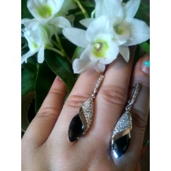 Серебряные серьги Ясмин (черный)