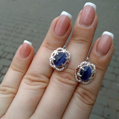Серьги Вероника с улекситом (синий)