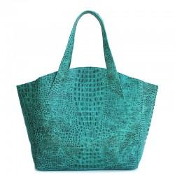 Кожаная женская сумка Poolparty FIORE CROCODILE (зеленый)