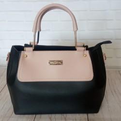 Двухцветная женская сумка (черно-розовый)