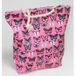 Пляжная сумка с бабочками (розовый)