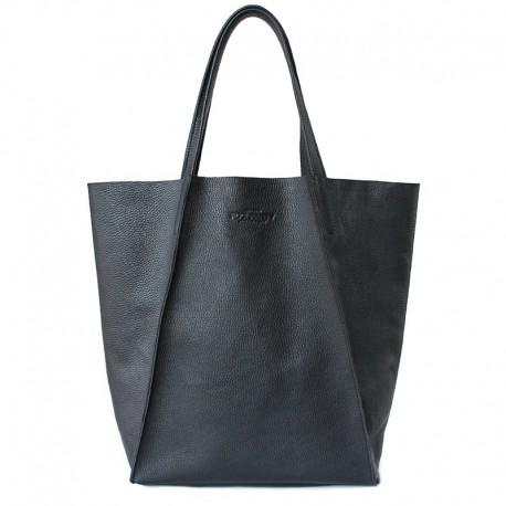 Кожаная сумка Poolparty EDGE без подкладки (черный)