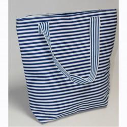 Пляжная сумка в тонкую полоску (синий)