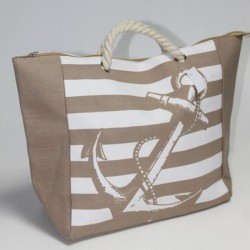 Пляжная сумка с якорем (бежевый)