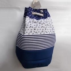 Пляжный рюкзак в полоску с якорями