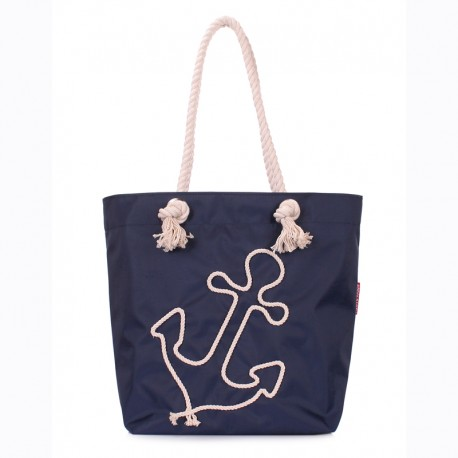 Пляжная сумка с якорем, однотонная (синяя)