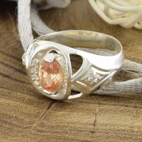 Серебряное кольцо Индира (шампань)