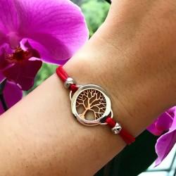 Серебряный браслет Дерево жизни с красной нитью