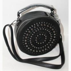 Круглая сумка клатч с заклепками (черный)