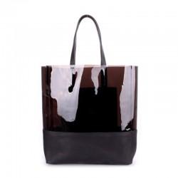 Прозрачная комбинированная кожаная сумка Poolparty City (коричневый)