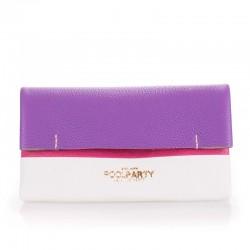 Двухцветный кожаный клатч Poolparty 2NITE (бело-фиолетовый)