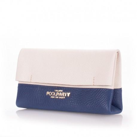 Двухцветный кожаный клатч Poolparty 2NITE (бело-синий)