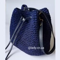 Синяя сумка из блестящего шнура со вставками эко кожи