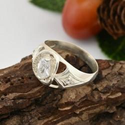 Серебряное кольцо Индира (белый)