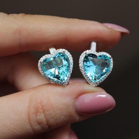 Серьги Сердце (голубой)