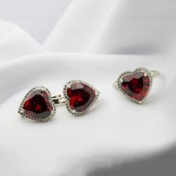 Серебряный комплект Сердце (красный)