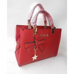 Прямая сумка с брелком бантом (красный)