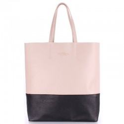 Двухцветная кожаная сумка Poolparty City (бежевый)