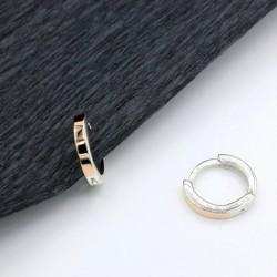 Серебряные серьги-кольца Руна с золотом