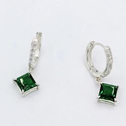 Серебряные серьги-кольца Сириус (зеленый)