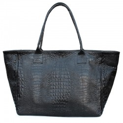Объемная кожаная сумка-трапеция Poolparty DESIRE под рептилию, 100% кожа (черный)