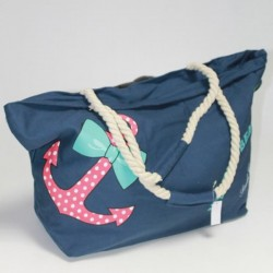 Синяя пляжная сумка с якорем