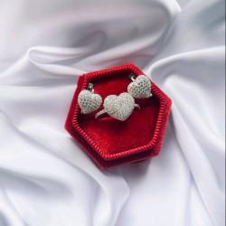 Серебряный комплект Сердечко (белый)