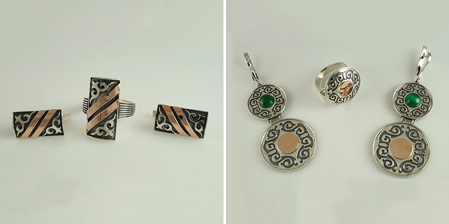 Казахские кольца и серьги