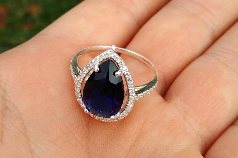 Кольцо Катюша синий