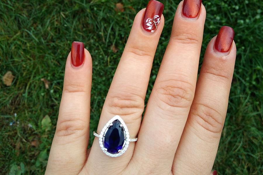 Кольцо Катюша синий фианит серебро