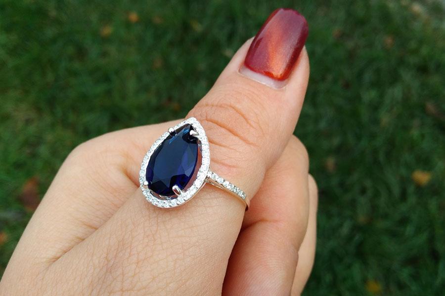 Перстень Катюша синий камень