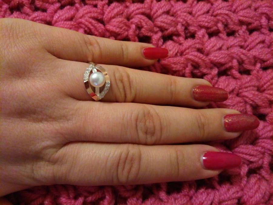 Женское кольцо Ракушка с жемчугом и фианитом