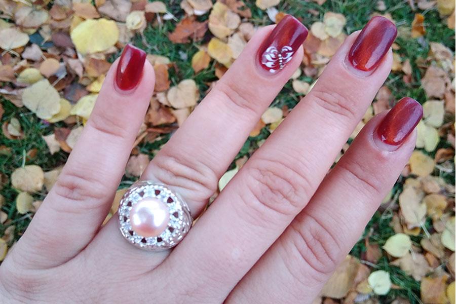 Серебряное кольцо с жемчугом Леди