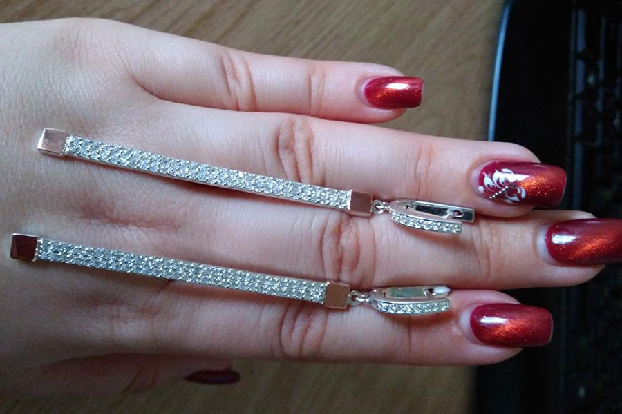Серьги Лиана длинные серебро