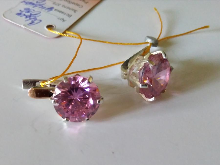 Серьги Мажента большой розовый камень