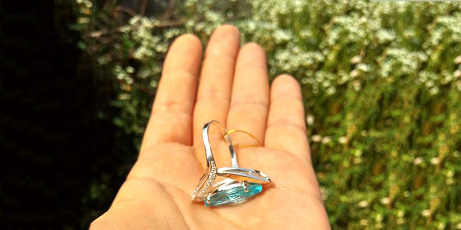 серебряное кольцо Ясмин голубой